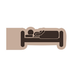 Brown emblem sticker bed and person sleeping vector