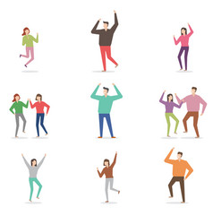 Cheerful characters various poses vector