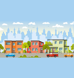 city landscape with modern houses vector image vector image