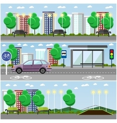 City landscape with road and park concept vector image vector image