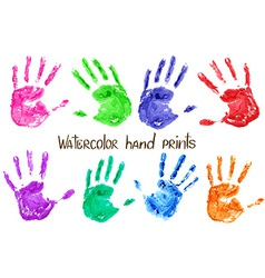 Collection of watercolor hand print vector