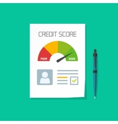 Credit score document paper sheet chart of vector