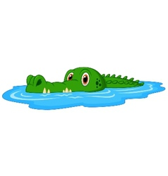 Cute crocodile cartoon swimming vector image vector image