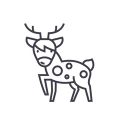 cute deer line icon sign o vector image vector image