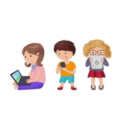 Cute young girl boy with computer laptop tablet vector image