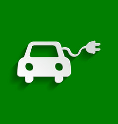 Eco electric car sign paper whitish icon vector