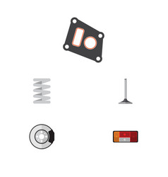 Flat parts set of crankshaft metal headlight and vector