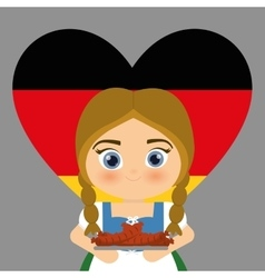 Girl cartoon costume traditional heart flag icon vector image