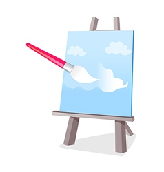 Icon canvas and easel and brush vector