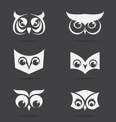 image of an owl face design on black background vector image vector image
