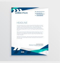 letterhead design with blue geometric shapes and vector image