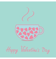 Love teacup with pink hearts valentines day vector