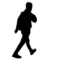 man silhouette walking with backpack vector image