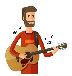 Musician or guitarist plays the melody vector