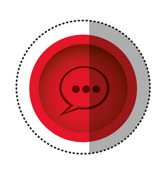 Red round symbol chat bubble icon vector