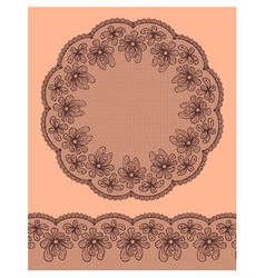 Round lacy frame on beige background vector image