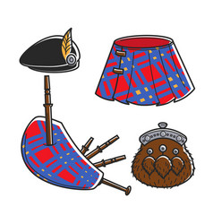 Scot bagpipe musician traditional accessories vector