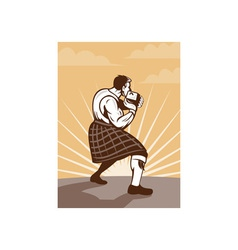Scot scotsman throwing weight stone put vector