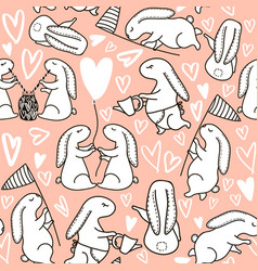 seamless pattern with cute hand drawn vector image vector image