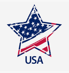 usa star grunge american flag vector image