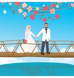 Couple holding hand in bridge woman wearing scarf vector