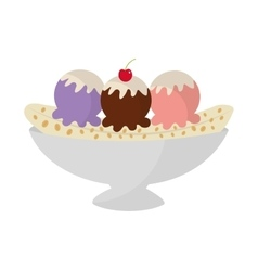 Delicious banana split icon vector