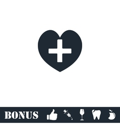 Health hearth cross icon flat vector