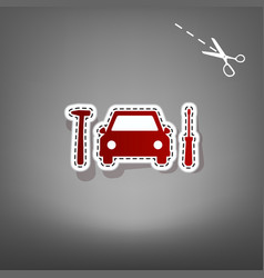 car tire repair service sign  red icon vector image