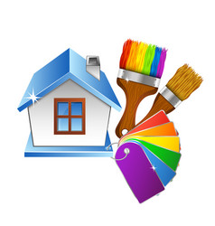 House and brush with paint color palette vector