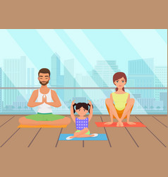 young white people family meditating in fitness vector image