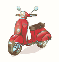 Color red scooter moped vector