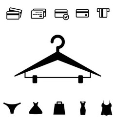 Black clothes hanger icon on white background vector