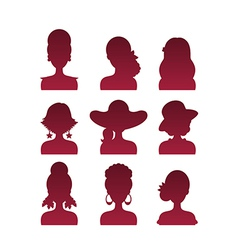 Set of icons with various women fashion styles vector