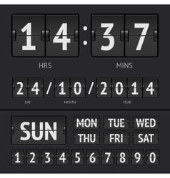 Analog black scoreboard digital week timer vector