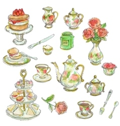 Tea time scrapbook set vector