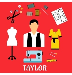 Tailor with sewing flat icons vector