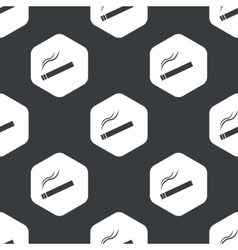 Black hexagon burning cigarette pattern vector
