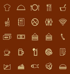 Restaurant line color icons on brown background vector