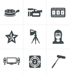 black movie icon set on gray vector image
