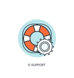 Lifebuoy flat web icon internet support concept vector