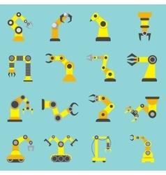 Robotic arm flat yellow icons set vector