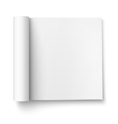 Blank open magazine template square format vector