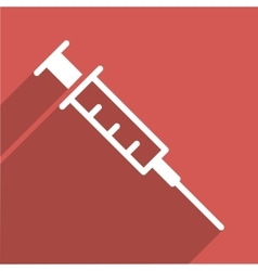Empty syringe flat long shadow square icon vector