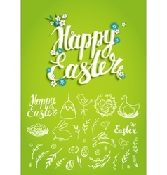 Set of easter hand drawn elements and handwritten vector
