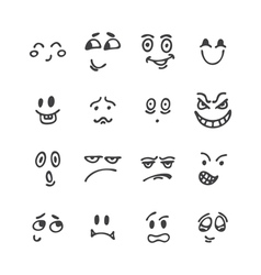 Set of hand drawn funny faces happy faces sketched vector