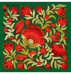 Abstract red floral ornament on a green background vector