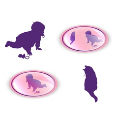Silhouettes of child with cat vector