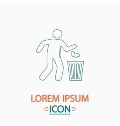 Trash bin computer symbol vector