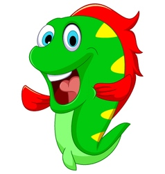 Happy fish cartoon close up vector