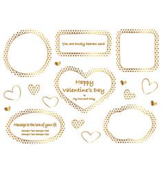 a set of gold polka dot message frames vector image